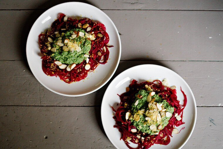 Spice and Sprout Spiralized Beet Noodles with Arugula Almond Pesto recipe