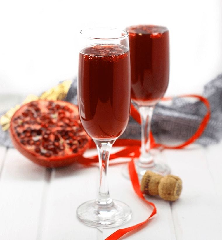 The Healthy Maven's Pomegranate champagne martini