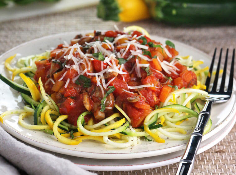 Eat In Eat Out Fall Veggie Ragu on Zucchini Noodles recipe
