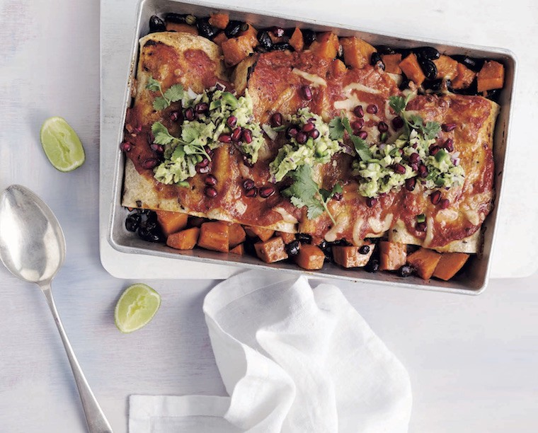 Kayla Itsines' Sweet Potato and Black Bean Enchiladas recipe