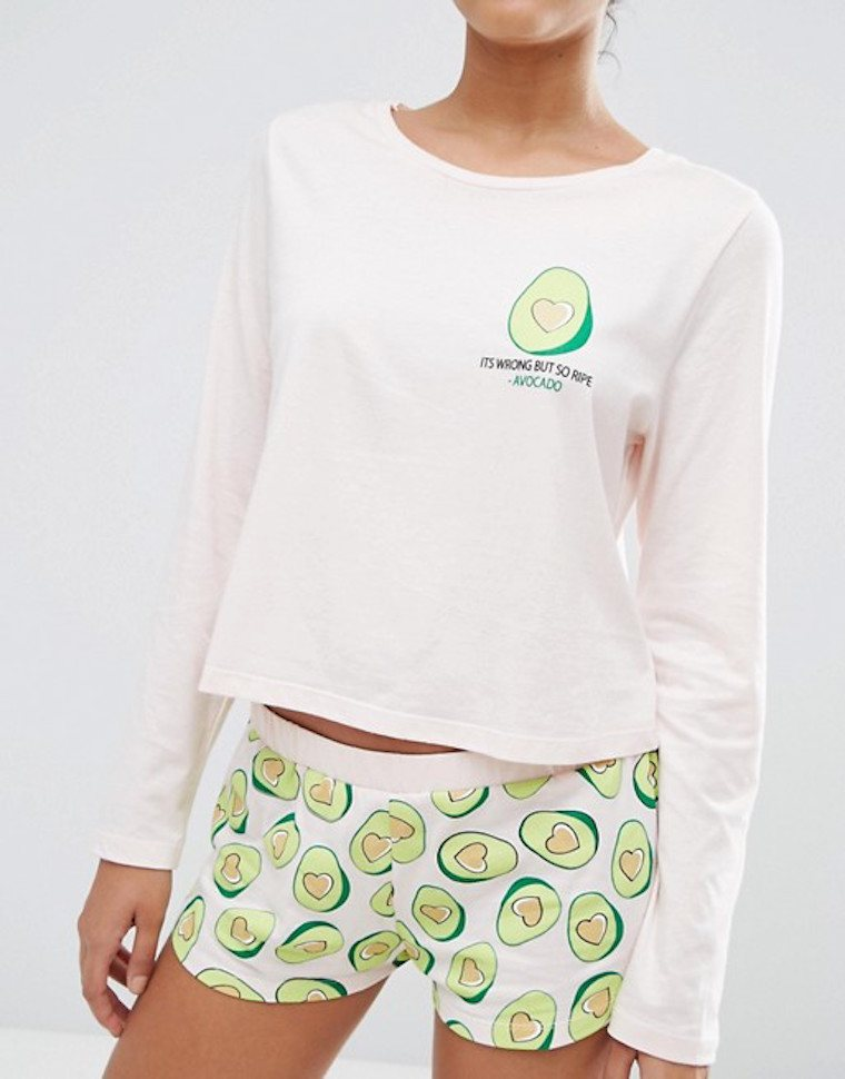 Asos Avocado Long Sleeve Tee & Short Set