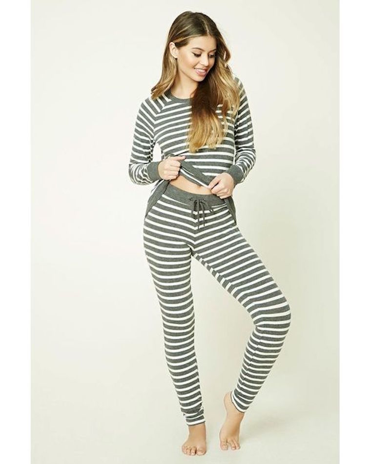 Forever 21 Striped Sweater Knit PJ Set