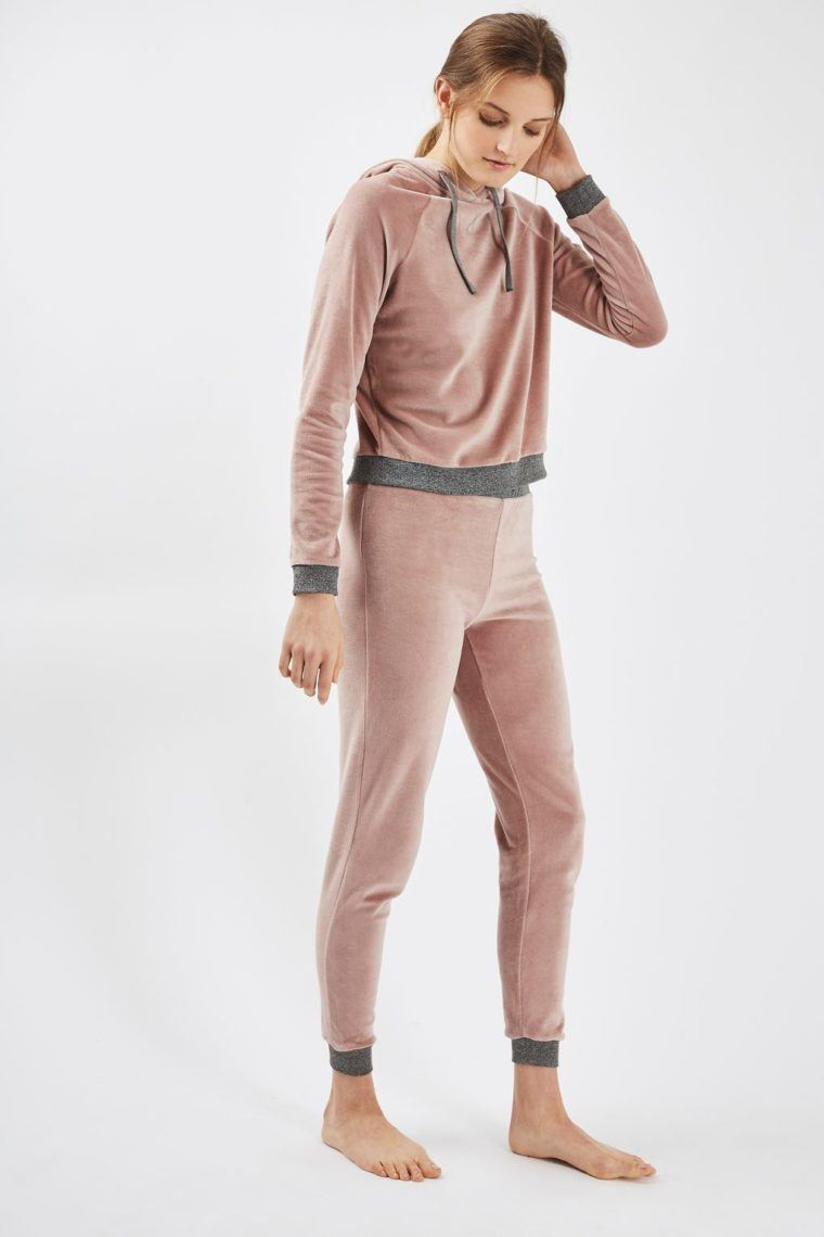 Topshop Nude Velour Loungewear Set