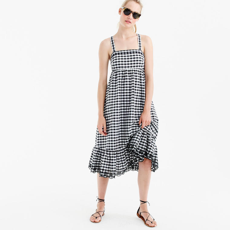 J.Crew gingham dress eyelet trim