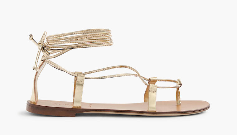 J.Crew metallic lace-up sandals