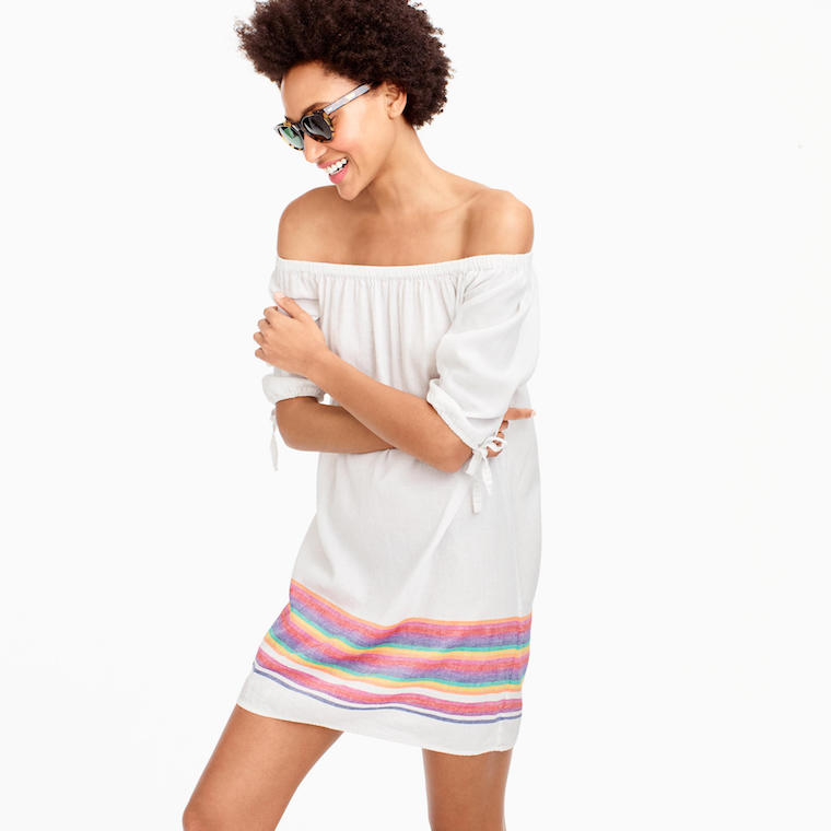 J.Crew off the shoulder dress rainbow stripe