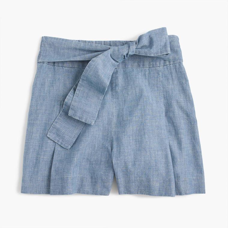 J.Crew tie waist chambray shorts