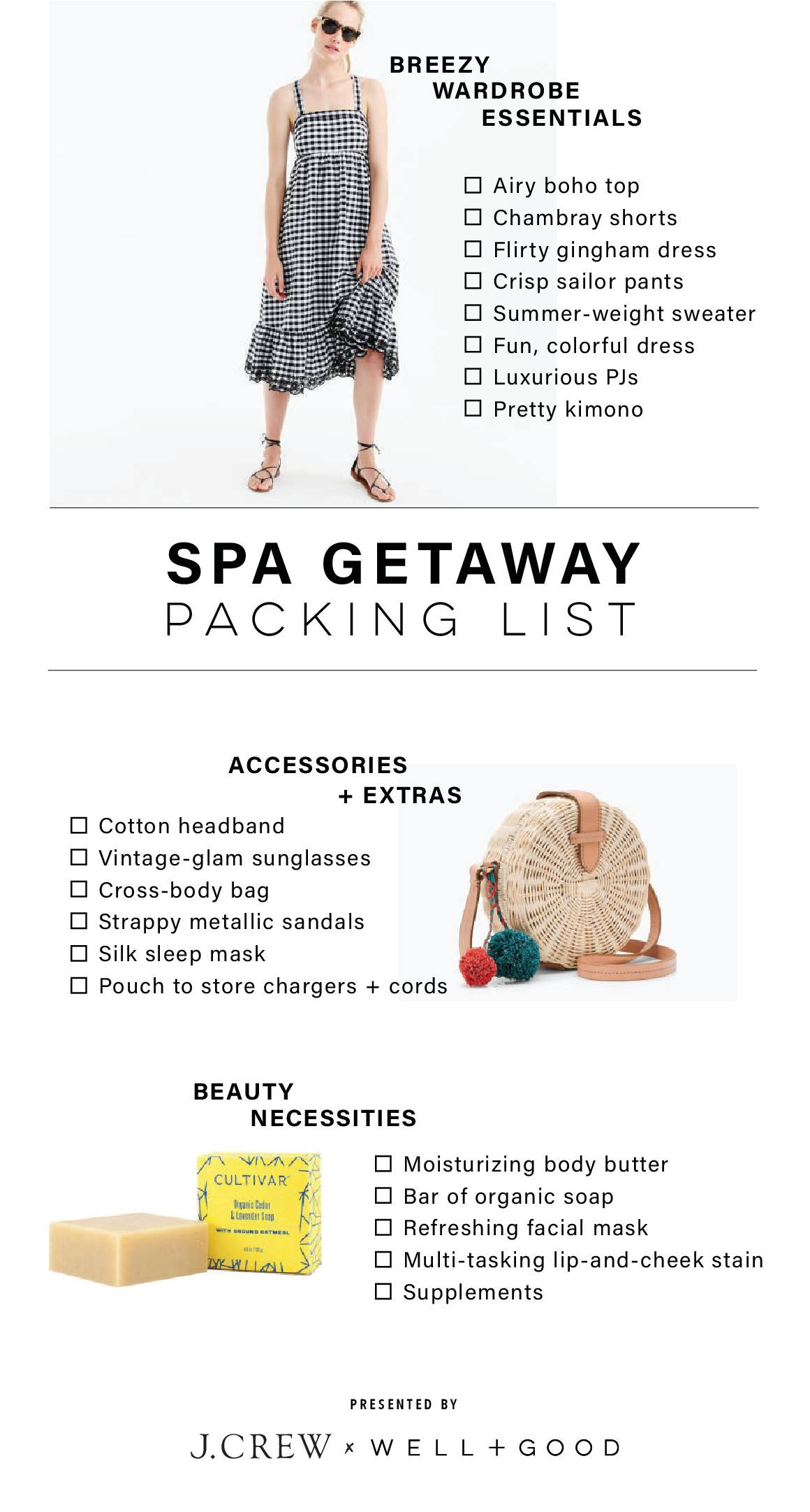 J.Crew spa packing list
