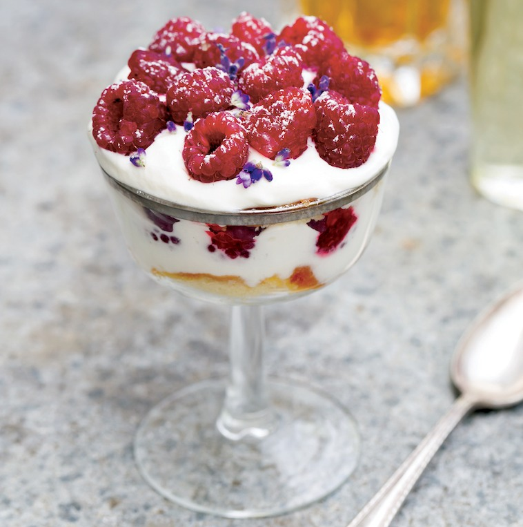 Raspberry Trifle with Sweet Cream recipe from Full Moon Suppers by Annemarie Ahearn