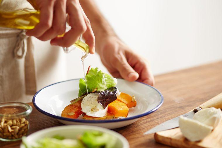 olive oil on salad