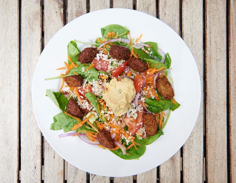 salad with hummus