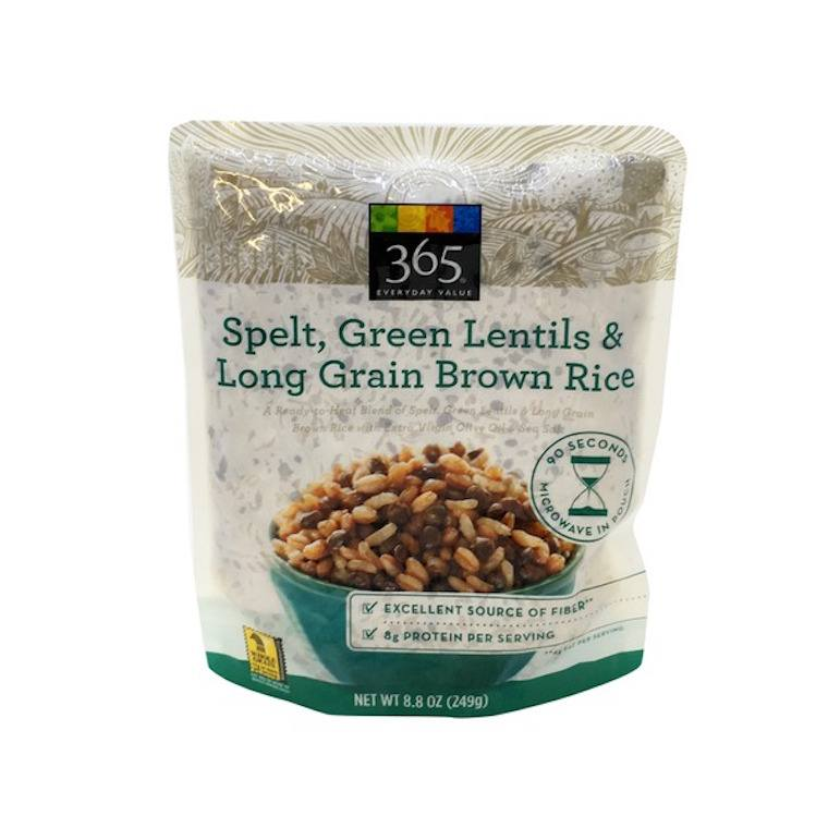 Whole Foods spelt, green lentil, and brown rice