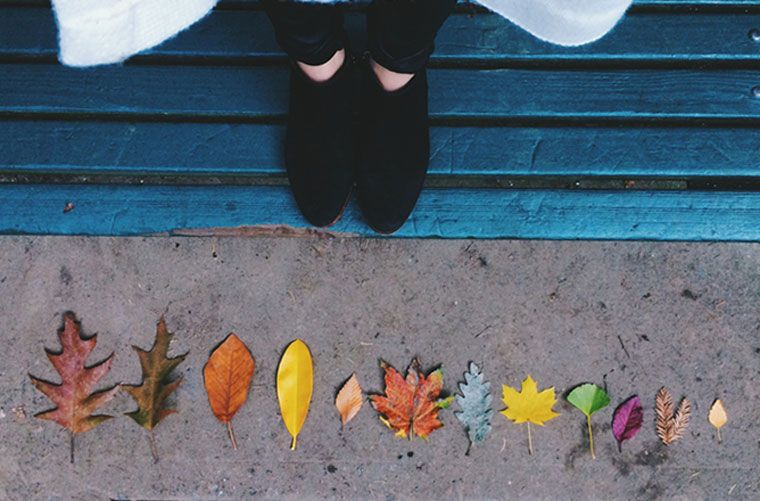 woman's feet and colorful fall leaves