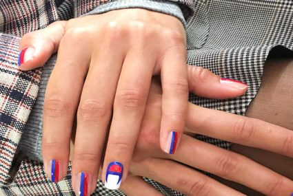 These track pant-inspired nails are the coolest beauty trend from NYFW