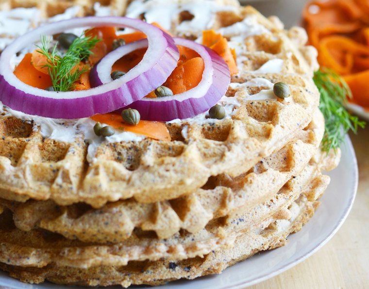 Everything but the bagel brunch waffles