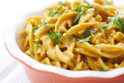 This creamy pumpkin pasta is a gluten-free, vegan fall win