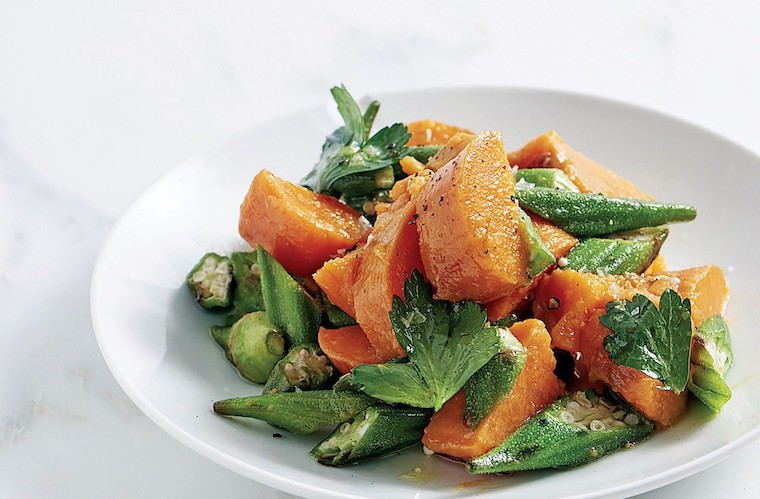 Thumbnail for The delish okra and sweet potato salad recipe Rocco Dispirito developed on a dare