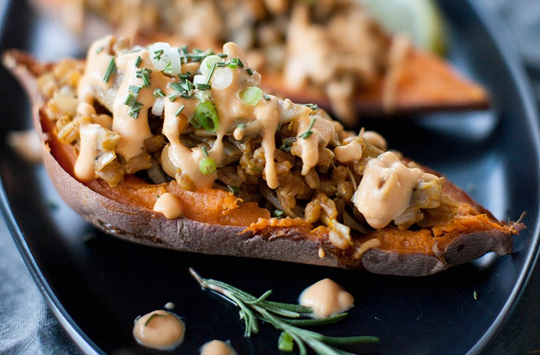 Thumbnail for Get ready to win the holidays with this stuffed sweet potato recipe