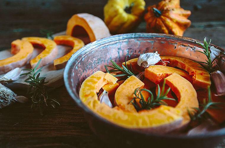 Pumpkins are a seasonal mood-boosting food.