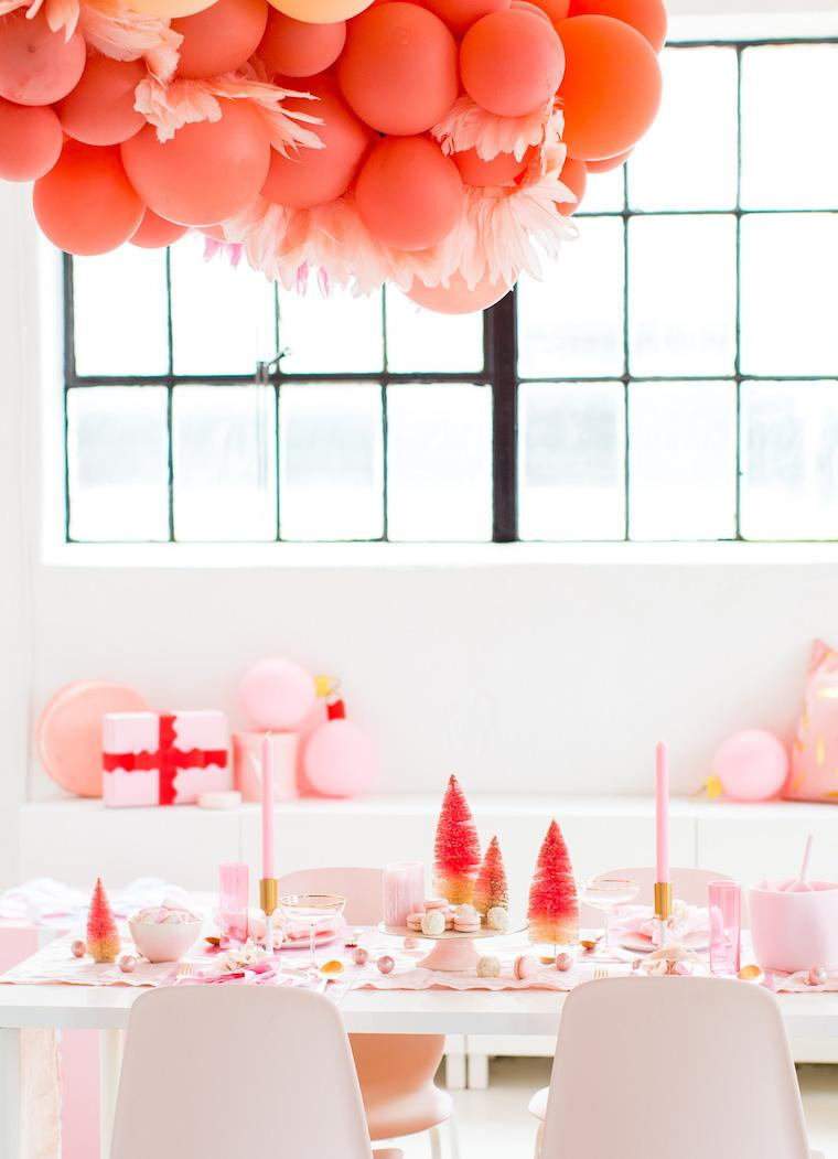 Millenial pink table decor