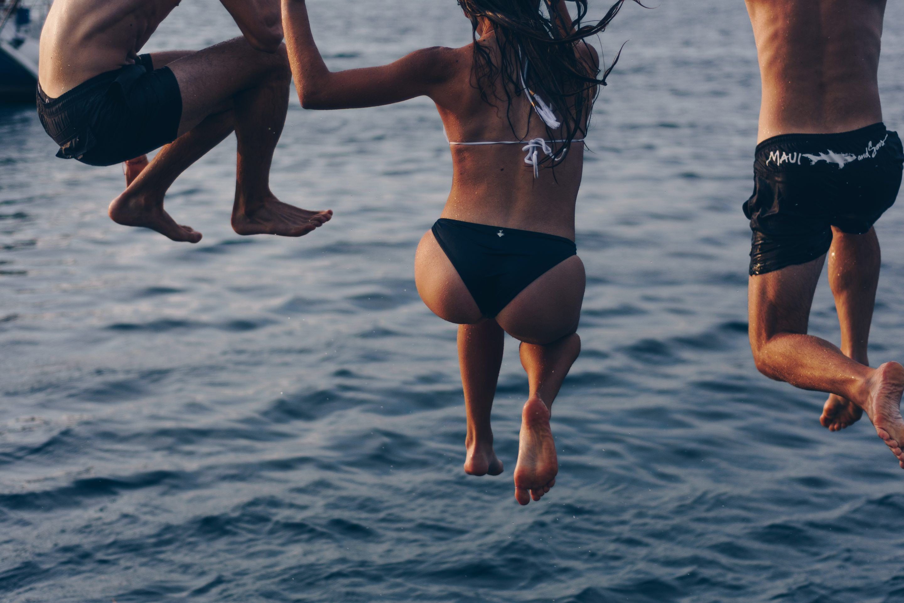 Jumping in the ocean to unplug.