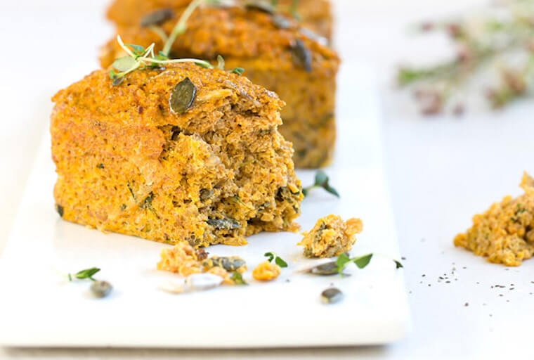 Keto carrot and thyme mini loaves