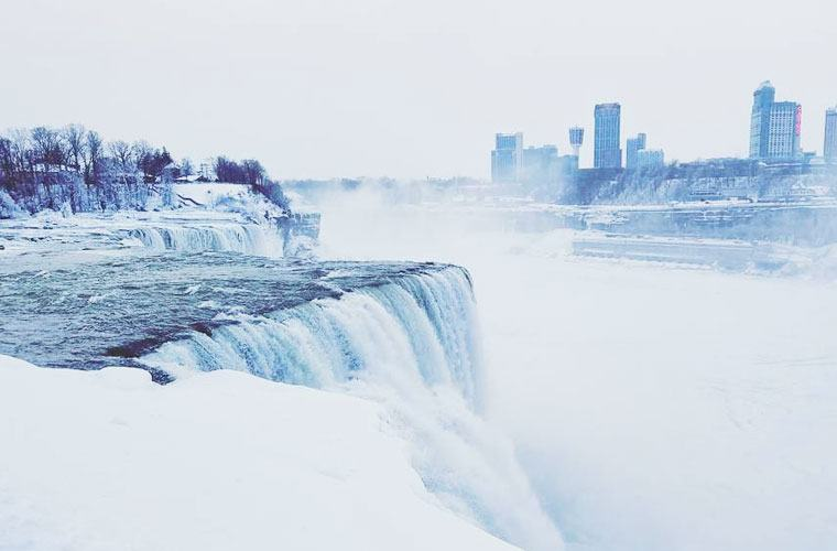 Thumbnail for Niagara Falls is covered in ice, and it looks absolutely *magical*