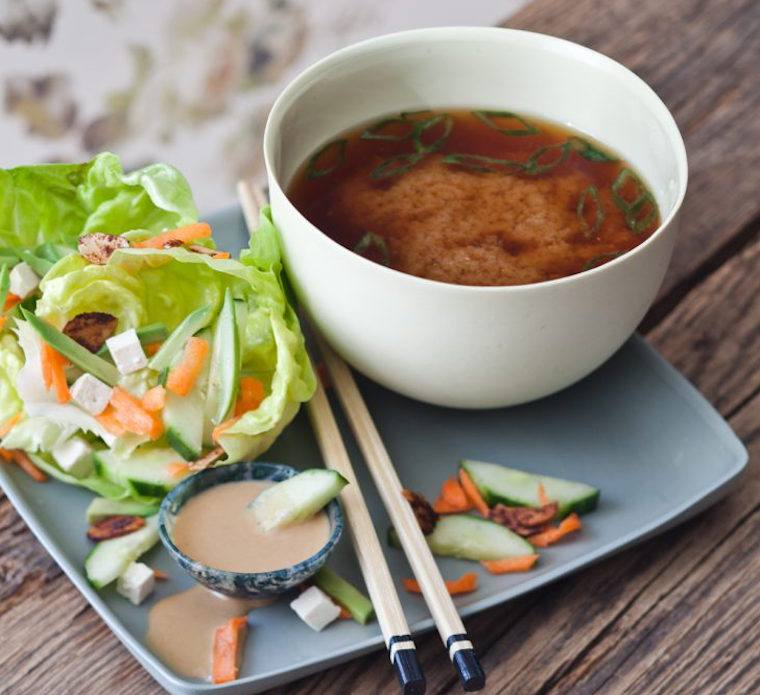 Candice Kumai miso soup and salad
