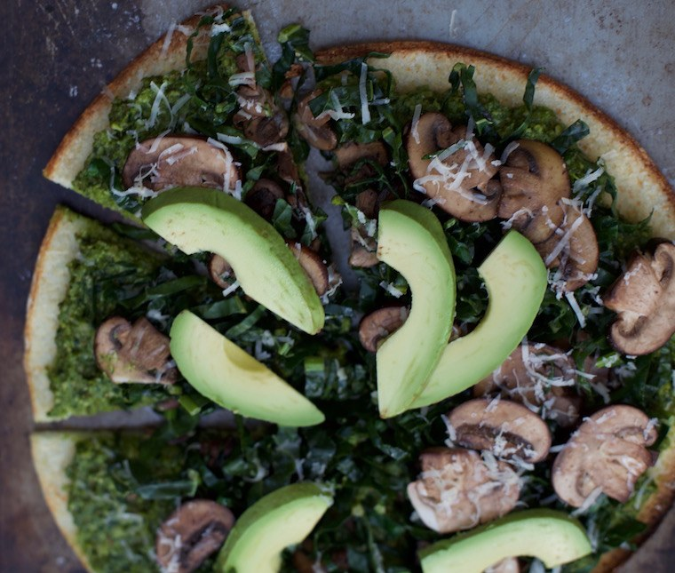 Candice Kumai pesto pizza