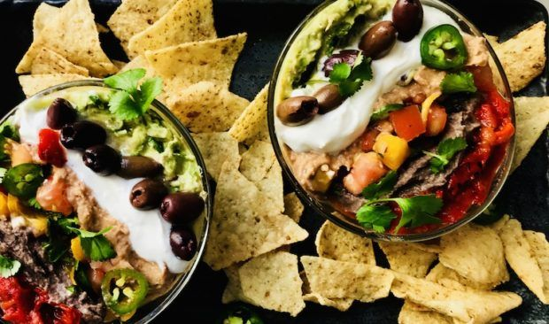 This healthy, vegan 7 layer dip is a Super Bowl party *must*