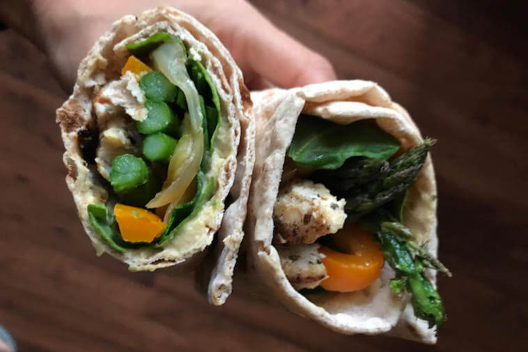 Grilled chicken and veggie lavash wrap