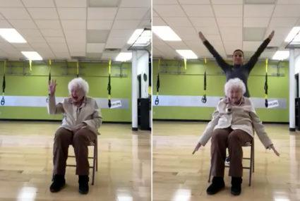 A 93-year-old woman smiles through her workouts