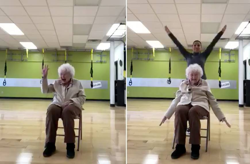 Thumbnail for This exercise-loving 93-year-old will make you smile through your next sweat sesh