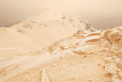 These photos of orange snow that just covered parts of Europe will give you spring-ish vibes