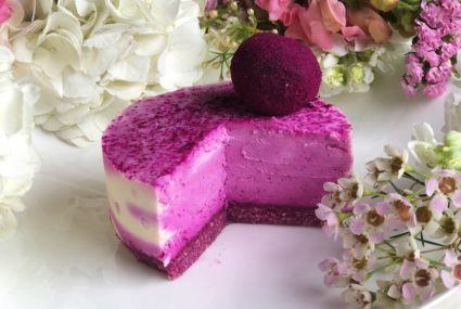 "Channel warm-weather vibes with this dreamy dairy-free dragonfruit ""cheesecake"""
