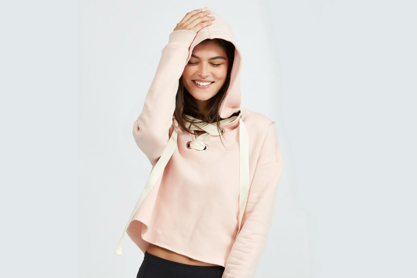try a cropped pink sweatshirt