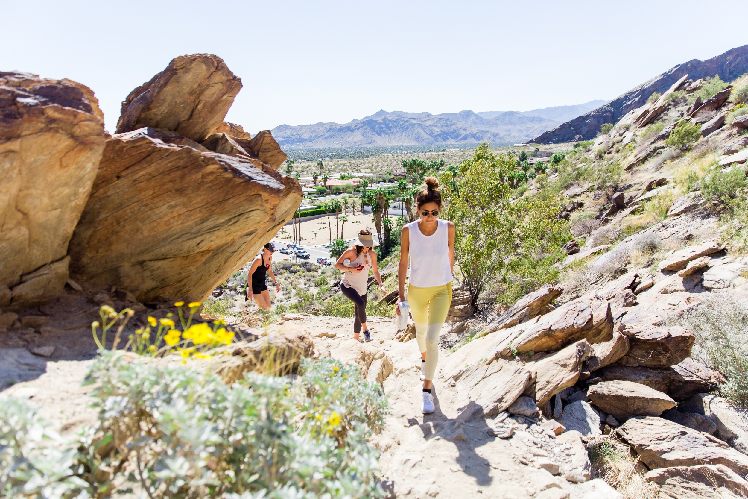 Women hiking in Palm Springs for Well+Good Retreat