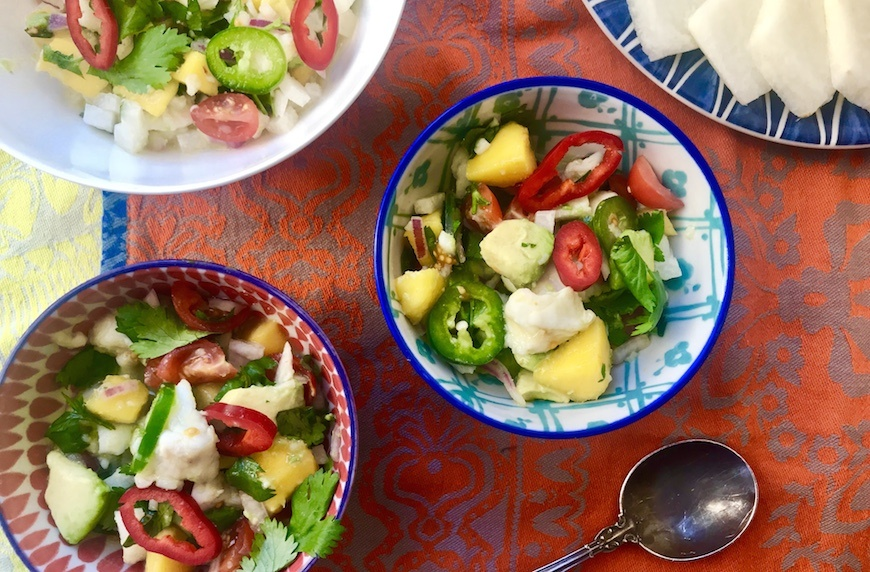 Halibut ceviche with avocado and mango