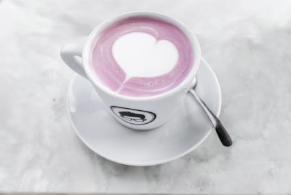 This rosy-hued oat milk latte is as delicious as it is pretty