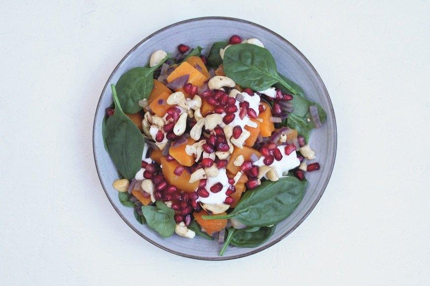 squash cashew spinach salad