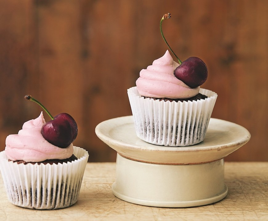 avocado chocolate cupcakes with cherry icing