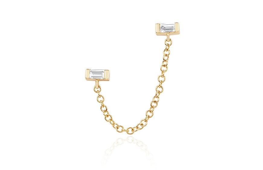 EF Collection Diamond Baguette Chain Double Stud Earring, $350