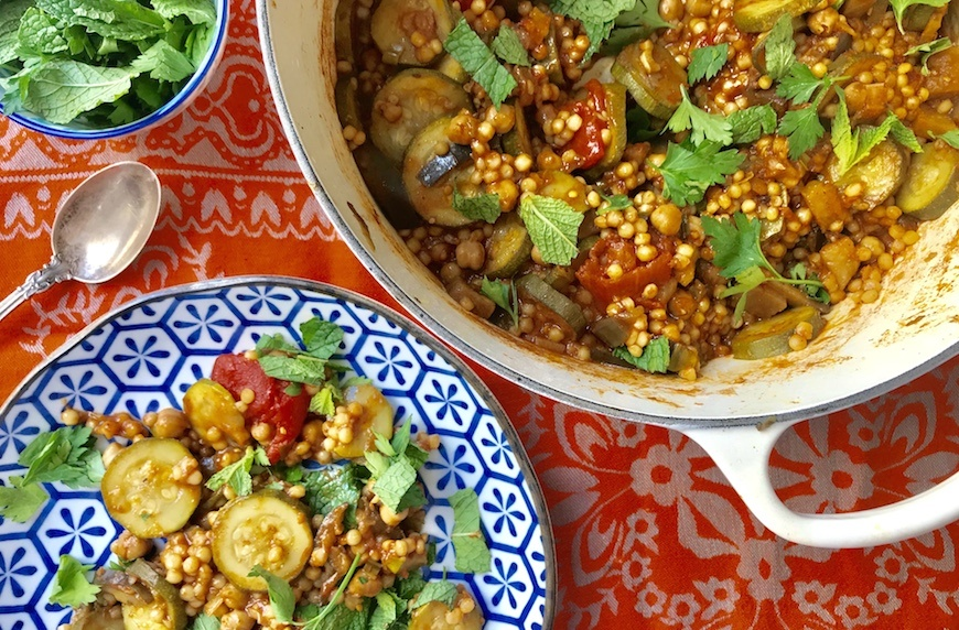 Moroccan cosucous with summer vegetables