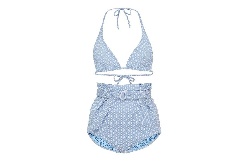 Lisa Marie Fernandez Pamela Cornflower Blue Seersucker Bikini Set, $425