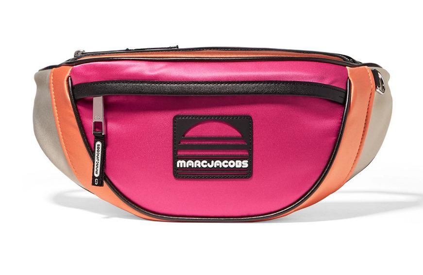 Marc Jacobs Sport Leather-Trimmed Color-Block Satin Belt Bag, $350 cropped