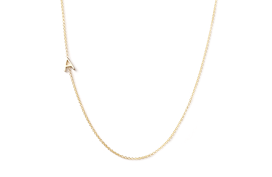 Maya Brenner 14K Gold Asymmetrical Letter Necklace, $240