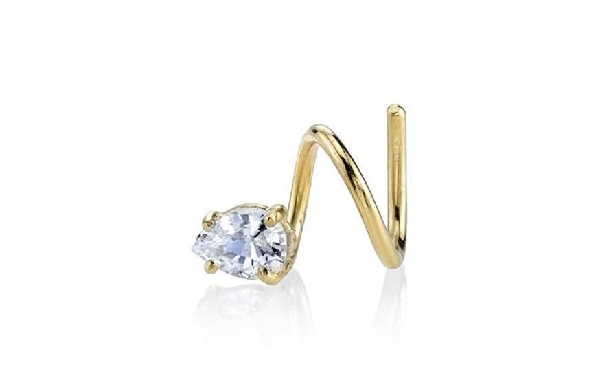 Smith + Mara White Topaz Spiral Earring, $190