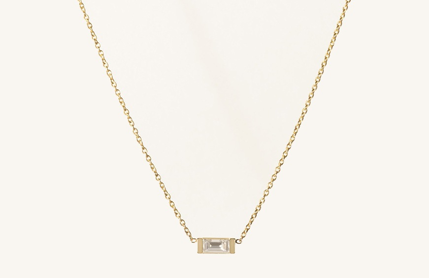 Vrai & Oro Baguette Diamond Necklace, $390