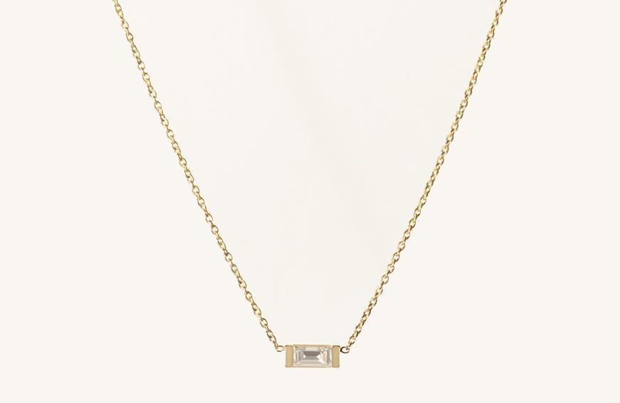 Vrai & Oro Baguette Diamond Necklace, $390