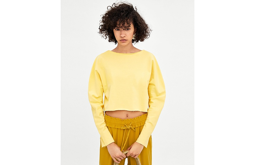 Zara Long Sleeve Cropped Sweatshirt ($18) cropped